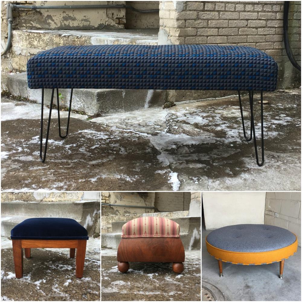 Handmade in Minnesota - ottoman bench - custom upholstery