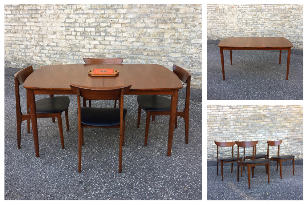 Mid-century modern walnut dining table and chairs - restored