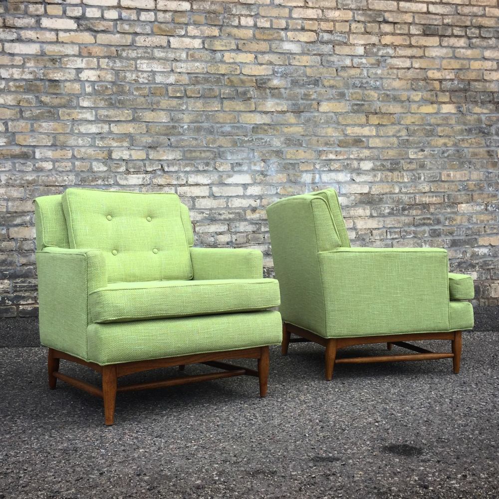 Edward Wormley style lounge chairs reupholstered in green fabric