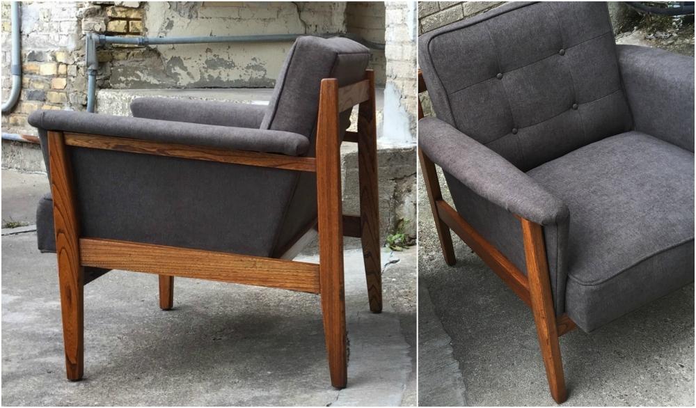 Mid-century modern bucket chair - restored - reupholstered