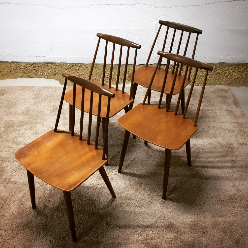 Model J77 chairs designed by Folke Palsson for F.D.B. Mobler - set of four