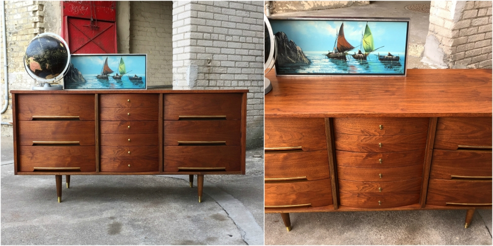 Restored mid-century modern dresser - curved drawer fronts