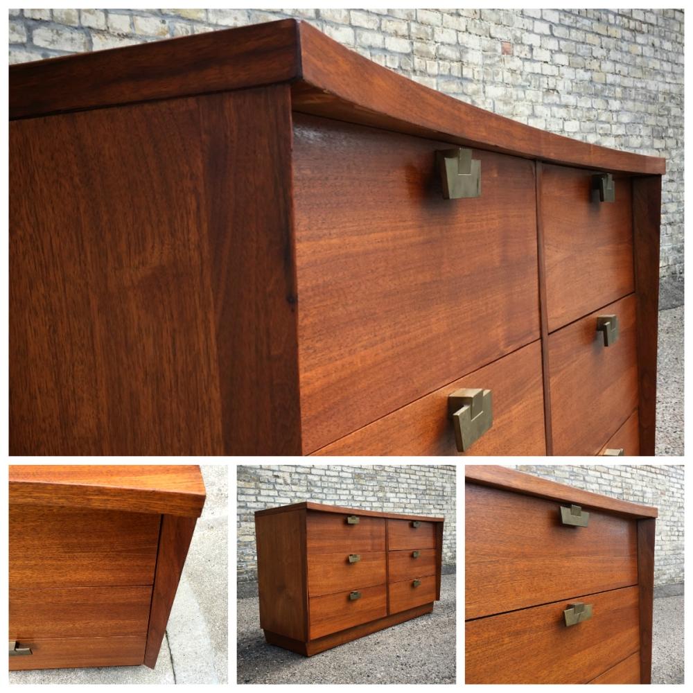American of Martinsville dresser - walnut - restored - mid-century modern - American Moderne