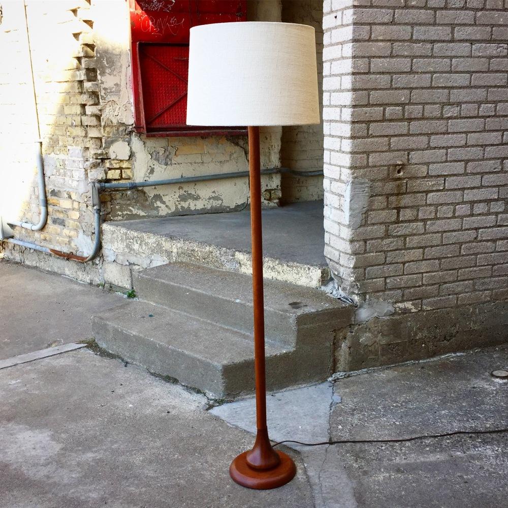 Vintage modern wood floor lamp with teardrop base