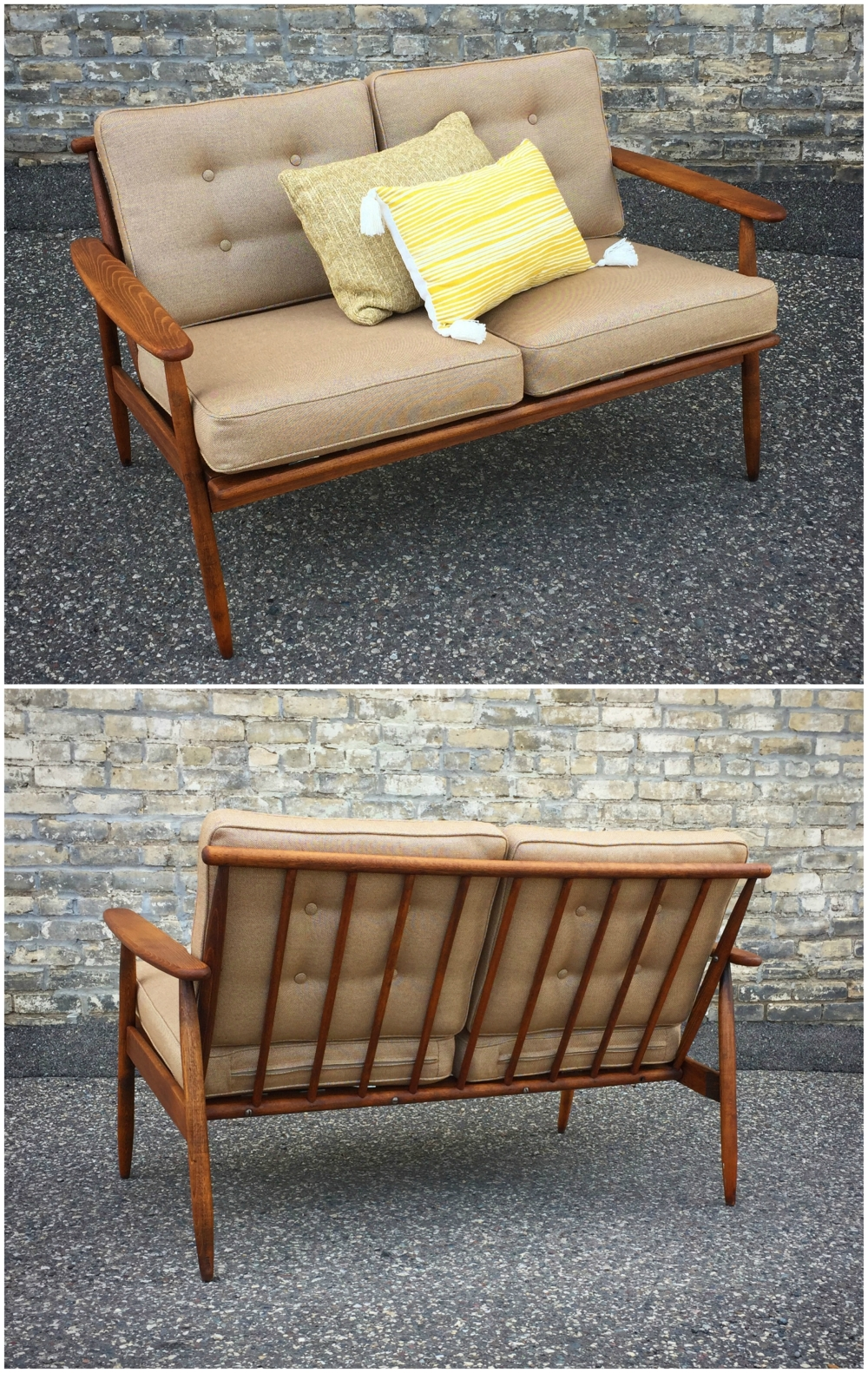 Mid-century loveseat - restored with new upholstery