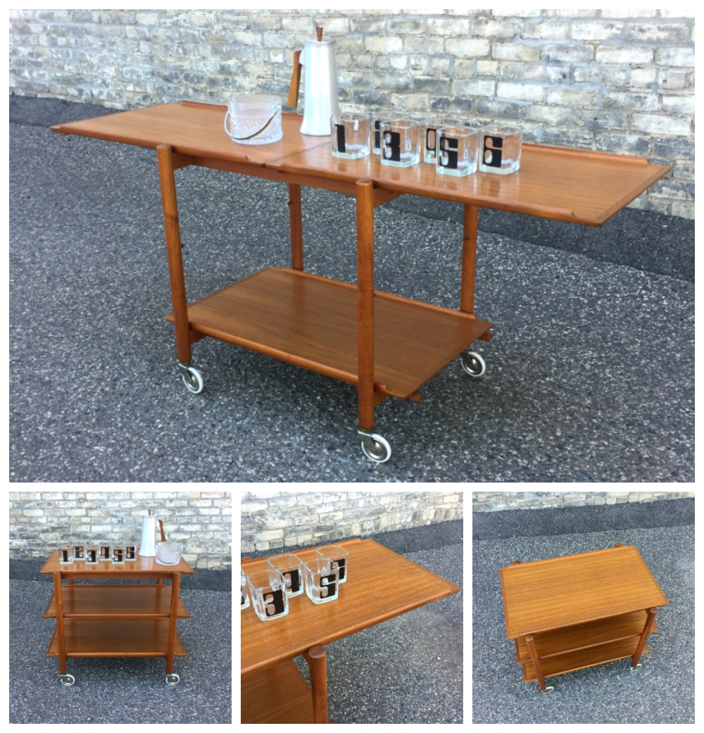 Poul Hundevad Vamdrop Mobelfabrik - serving cart - trolley - bar cart - made in Denmark - teak