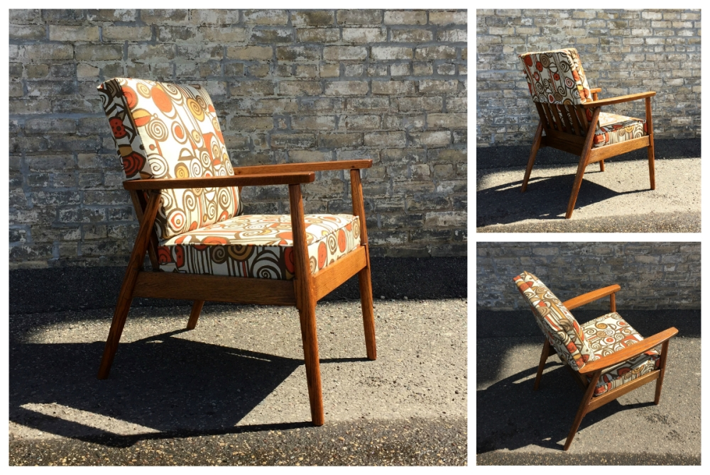 Restored mid-century modern wood frame chair with pop art upholstery