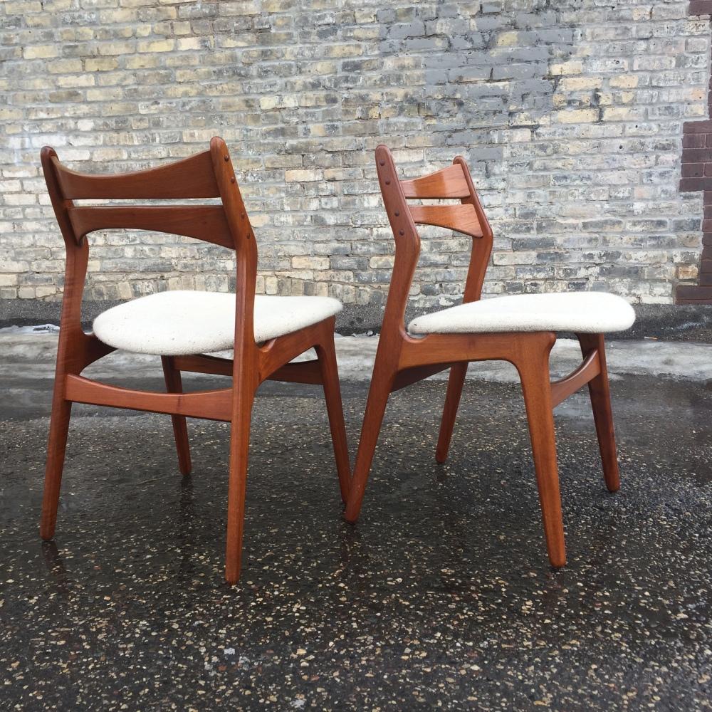 Erik Buch Model 310 dining chairs with teak frames made in Denmark byChristiansen Møbelfabrik