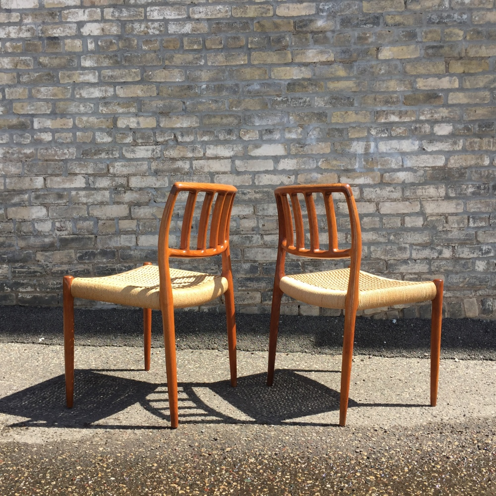 Model 83 dining chairs designed by Niels Otto Møller and made in Denmark by J.L. Møller