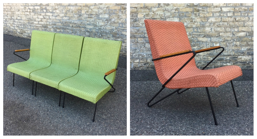 Mid-century modern patio furniture - painted wicker and iron