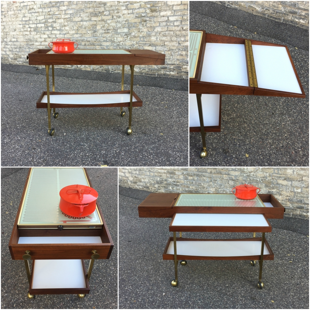Mid-century serving cart with Salton warming table