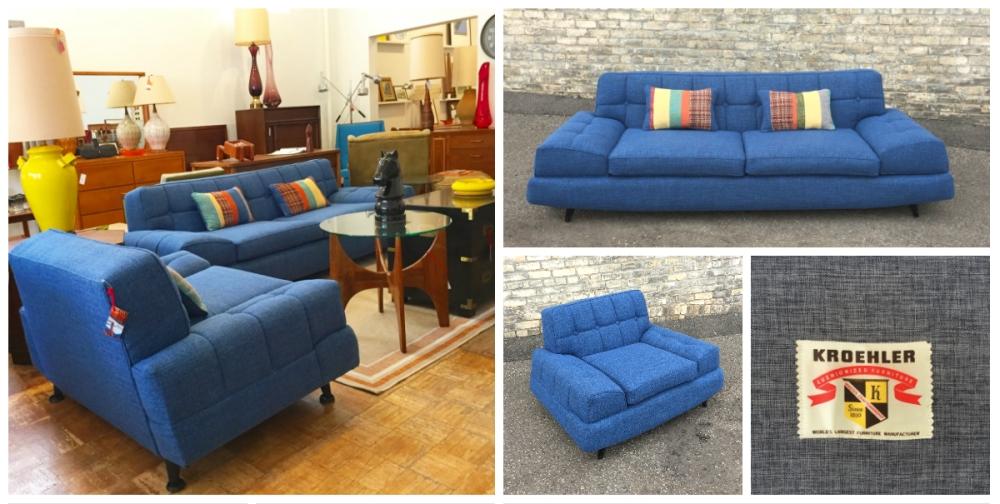Kroehler sofa - chair - mid-century - reupholstered