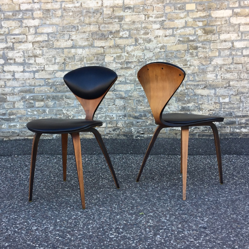 Norman Cherner chairs for Plycraft - bent walnut and black leather