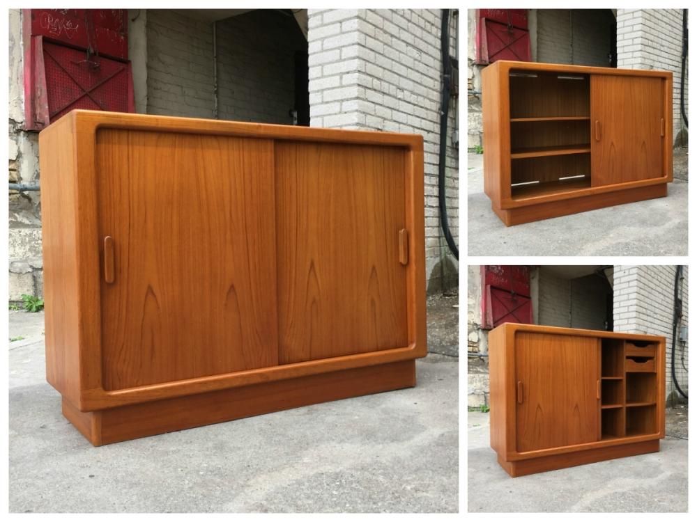 Teak sideboard with sliding doors - made in Denmark by Silkeborg