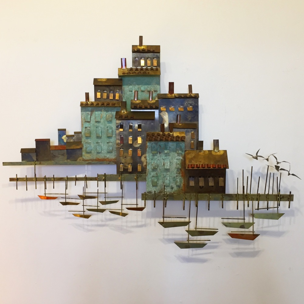 C. Jere metal wall sculture - village and harbor - Curtis Jere - mid-century modern - vintage - retro