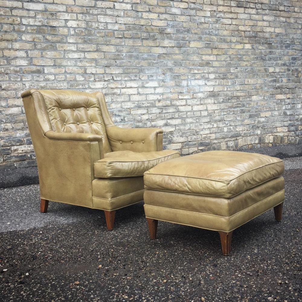 Henredon mid-century club chair with ottoman