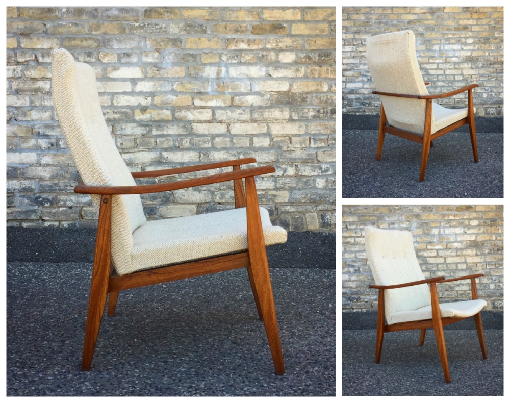 Mid-century modern tall back chair - restored - Danish style chair