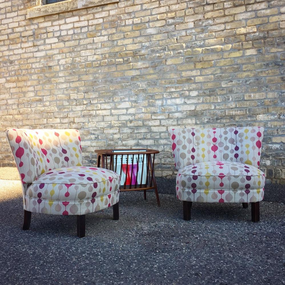 Mid-century slipper chairs