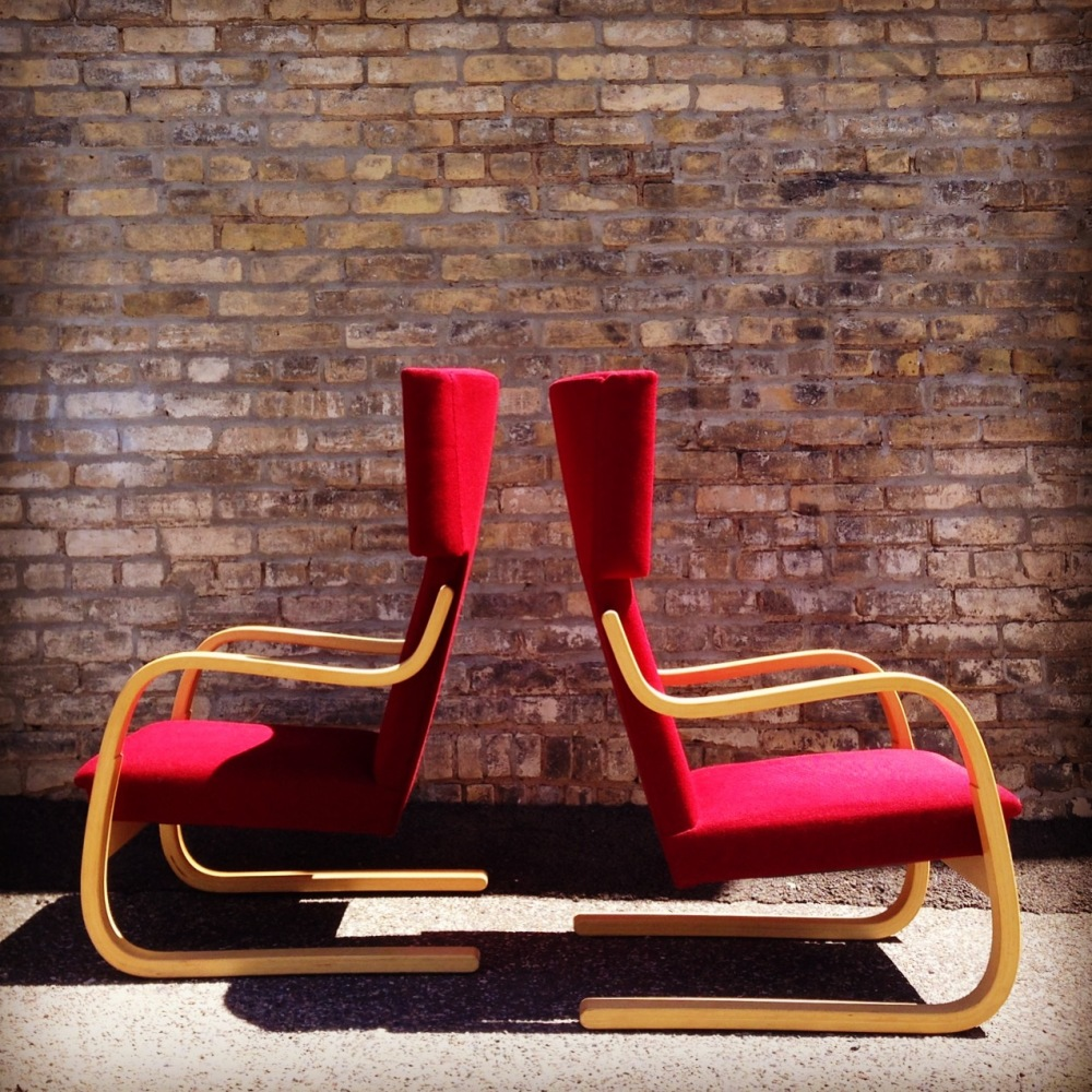 Alvar Aalto - 401 Easy Chairs - bent wood chair with red wool upholstery