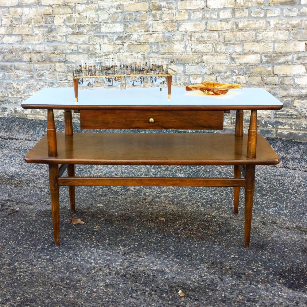 Mid-century two-tier console table with drawer