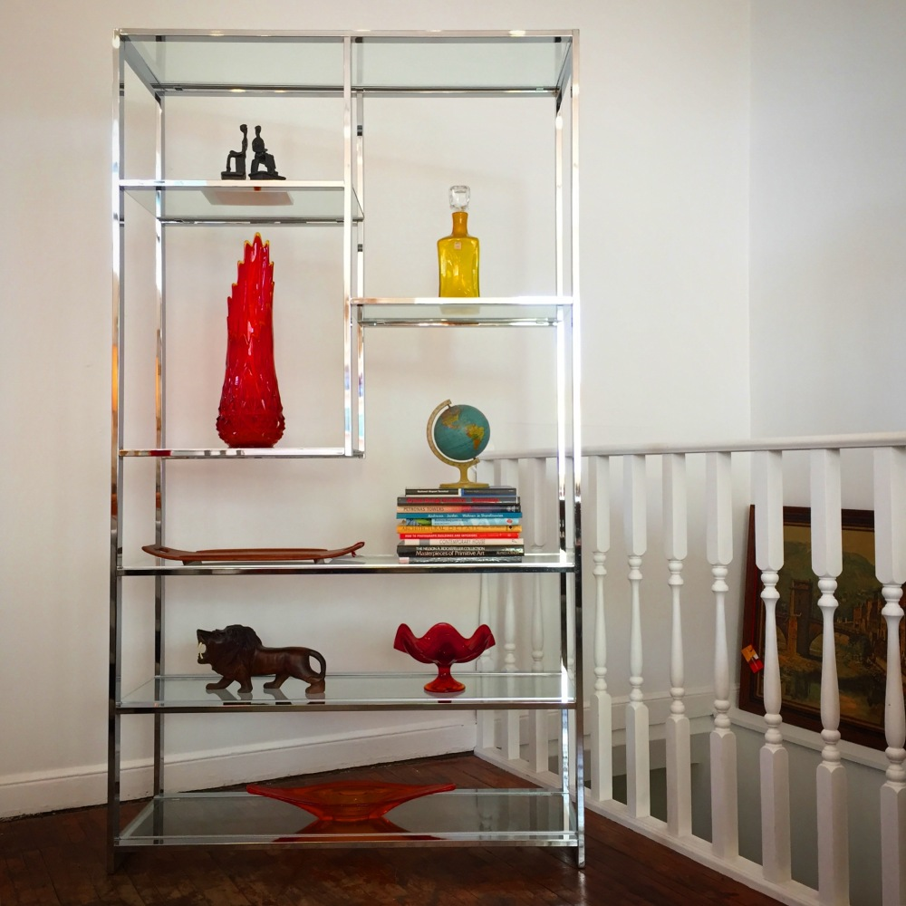 Milo Baughman chrome and glass etagere - vintage modern