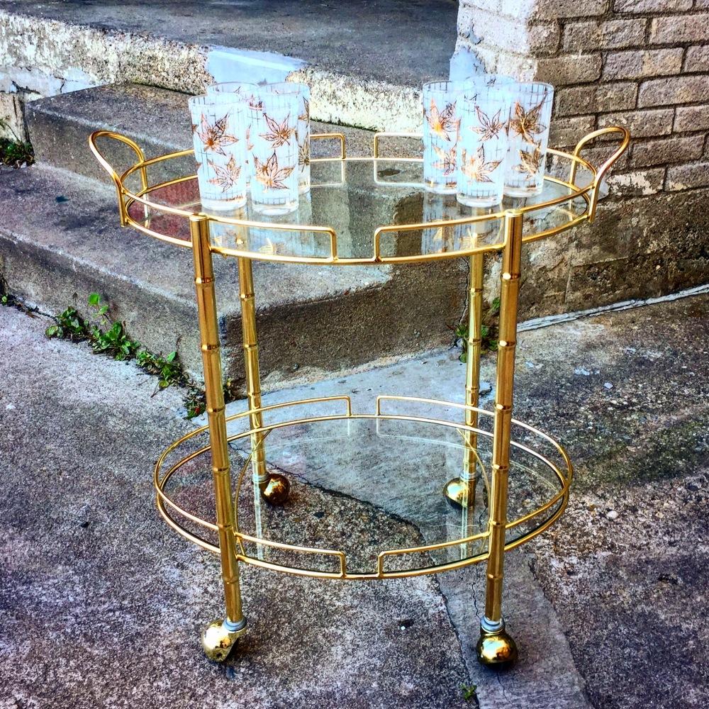 Vintage brass serving - bar cart - faux bamboo - brass