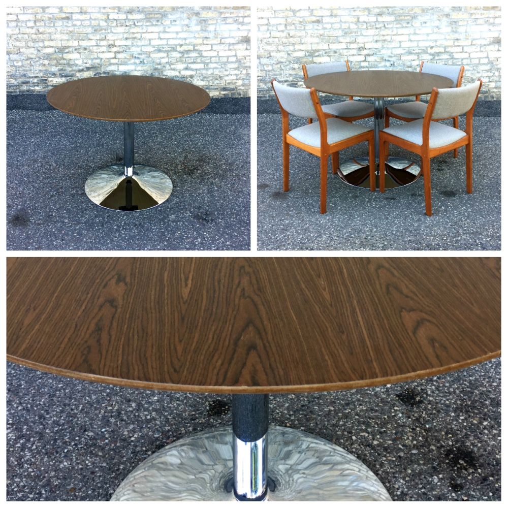 Modern dining table - chrome tulip base - round