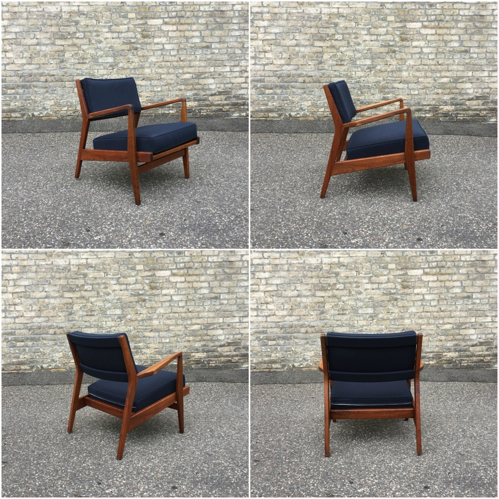 Jens Risom Model U430 lounge chair - original walnut frame