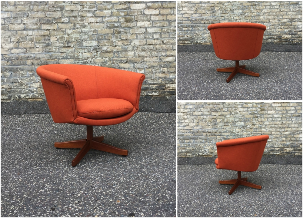 Danish swivel chair - four point teak base
