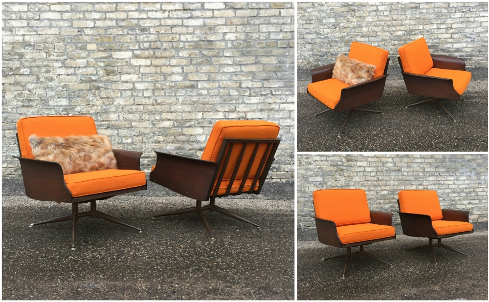 Baumritter Viko molded wood lounge chairs