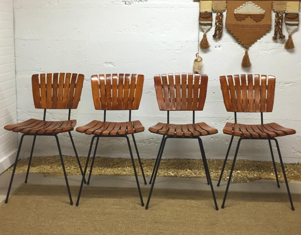 Arthur Umanoff style slat chairs