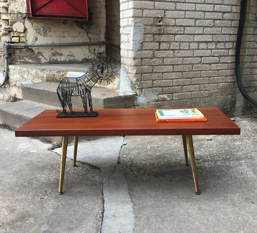 Mid-century modern walnut slab coffee table