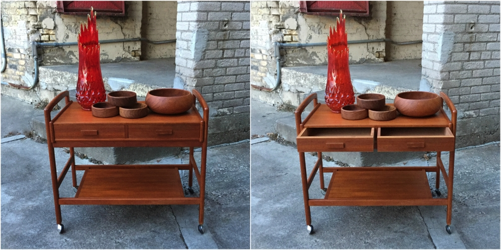 Danish modern teak serving cart