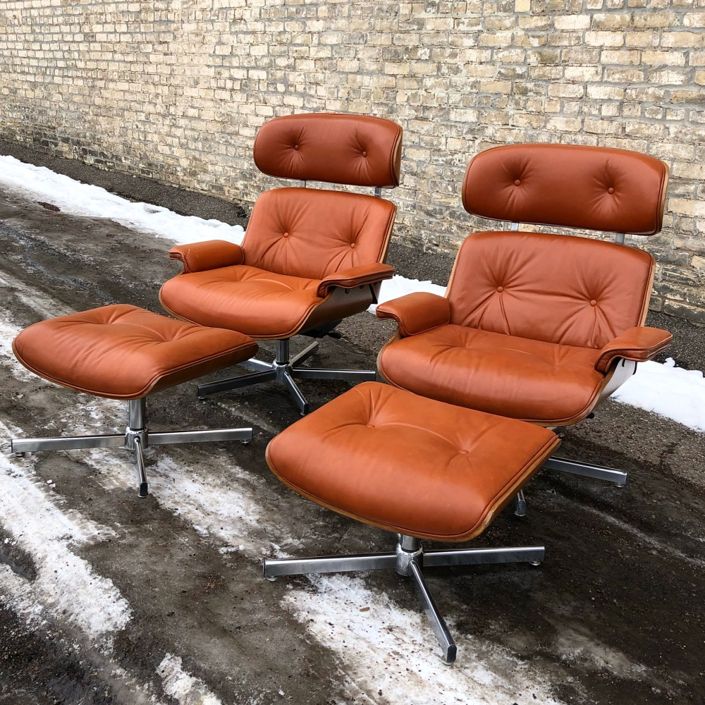 Cafemo Italian leather lounge chair + ottoman | Herman Miller Eames style