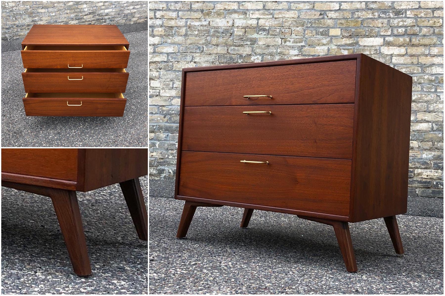 Jens Risom Design 3-drawer cabinet - custom legs