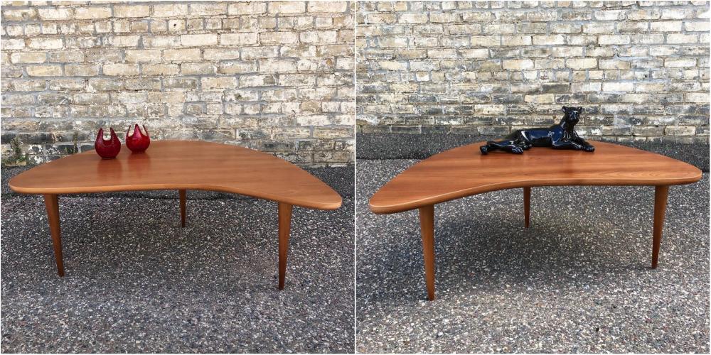 Biomorphic cherry coffee tables designed and handmade in Minnesota