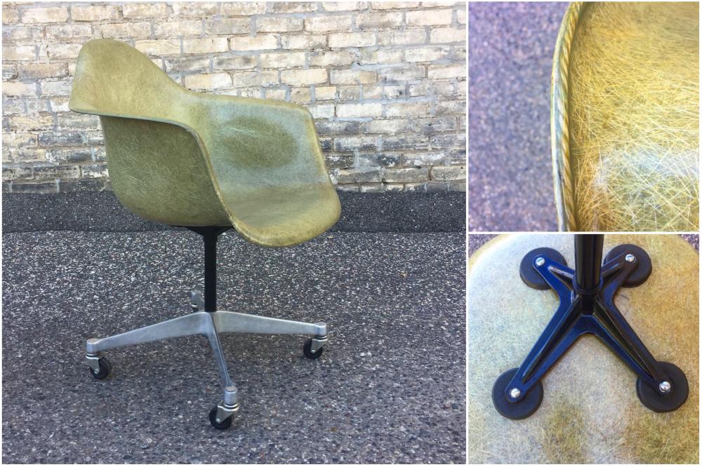 Zenith rope edge - Charles Ray Eames - Herman Miller - fiberglass shell chair - greige