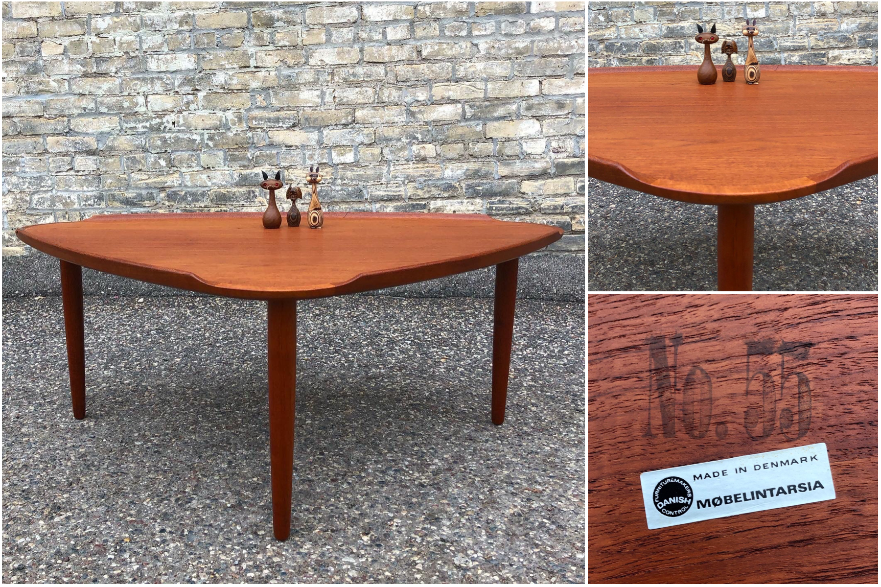 Teak coffee table - designed by Aakjaer Jorgensen and made in Denmark by Mobelintarsia