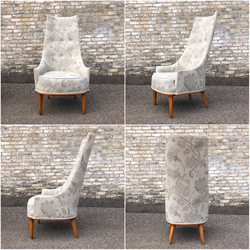 Boho chic tall back upholstered chair