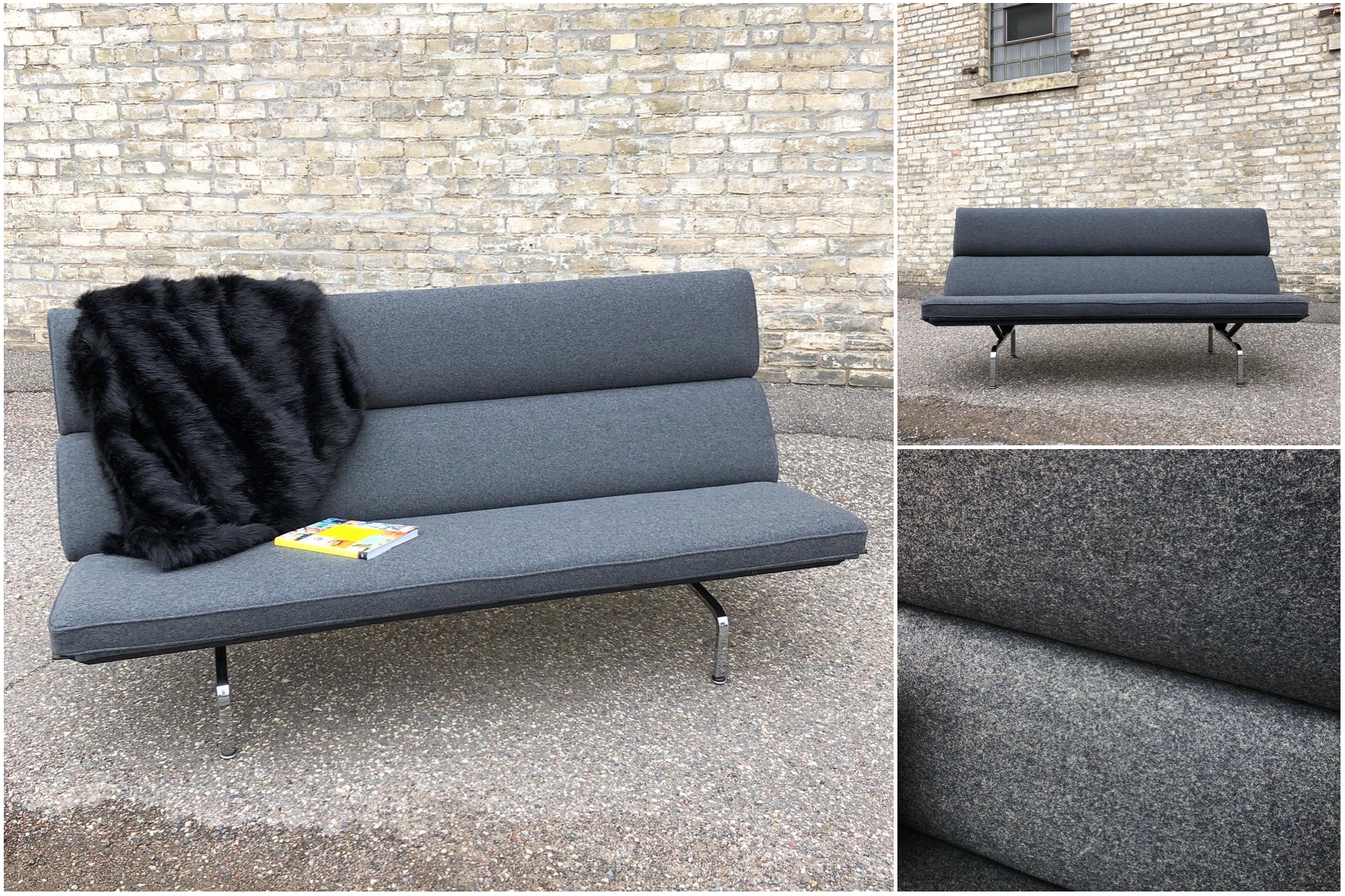 Eames Compact Sofa - reupholstered in wool