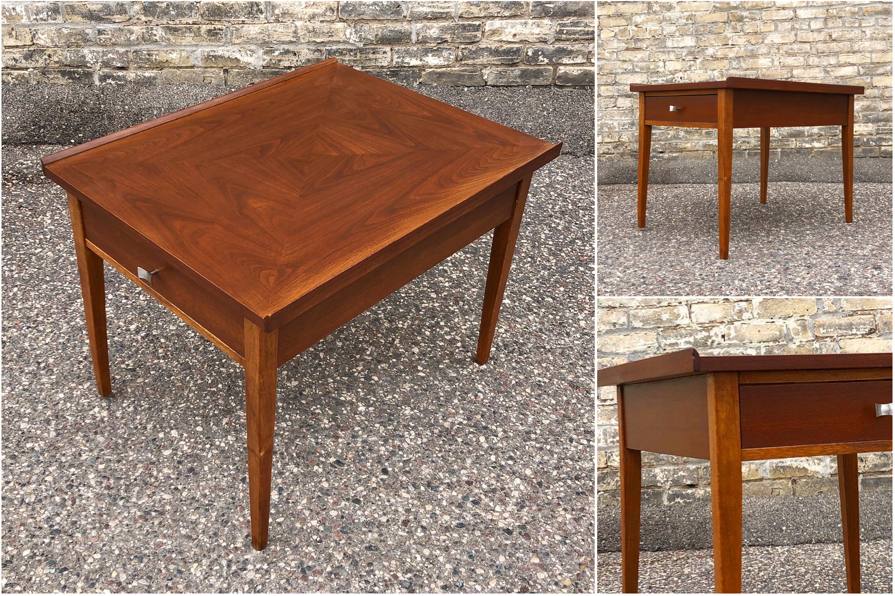 American of Martinsville walnut accent table