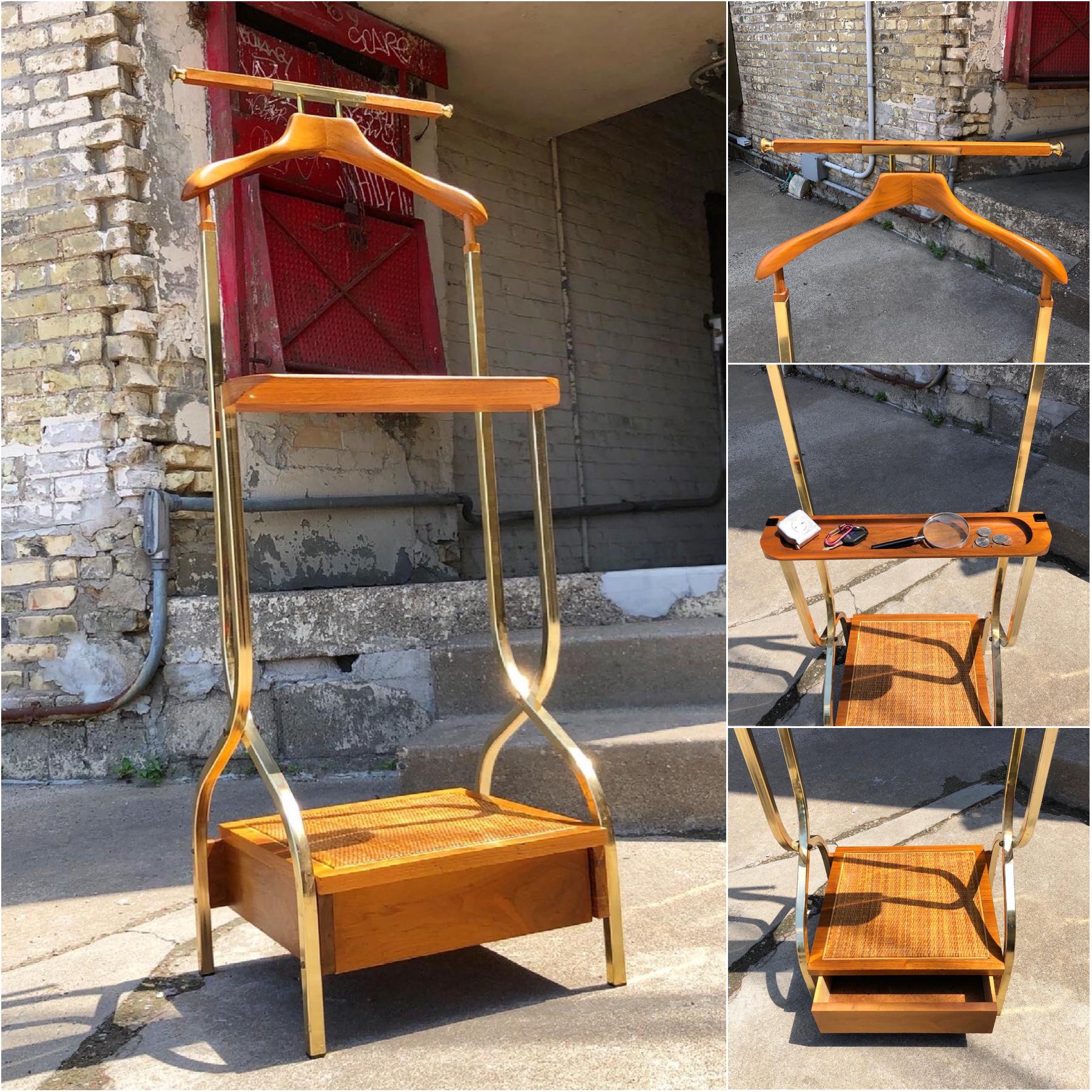 Mid-century walnut and brass valet stand