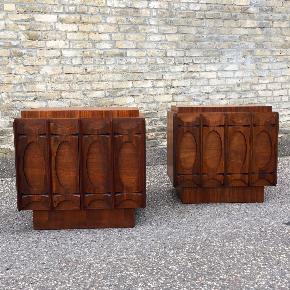 Sculpted walnut cabinets-nightstands | mid-century modern