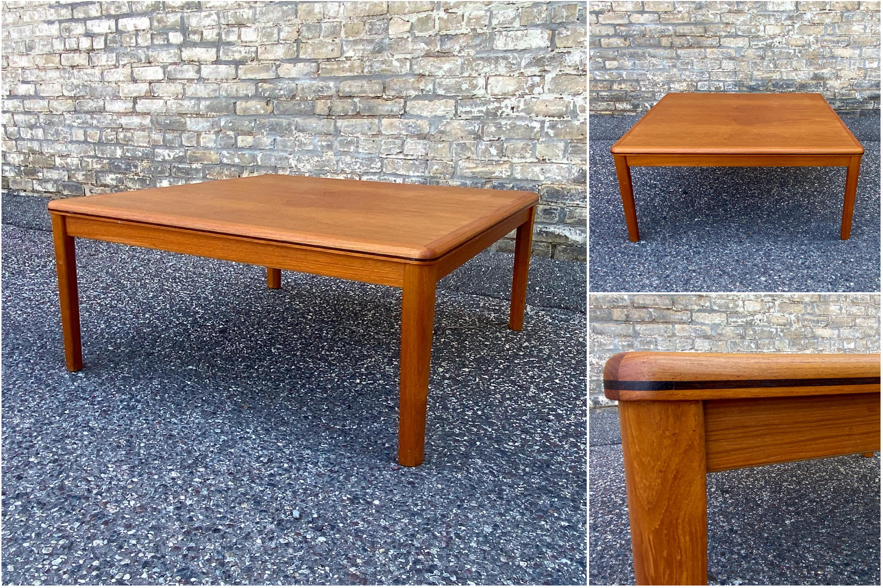 Square teak coffee table with rosewood band