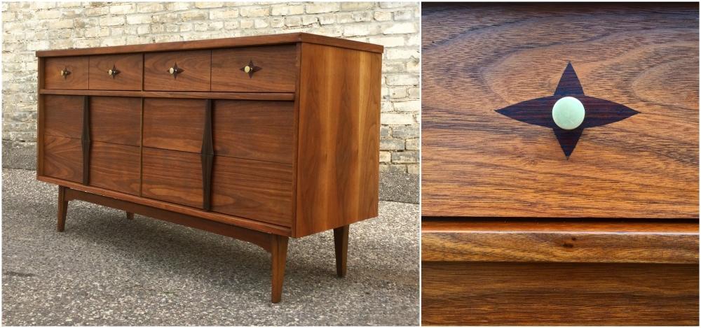 Bassett mid-century dresser - walnut with rosewood inlays