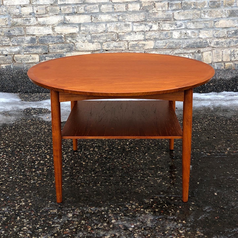 Mobelintarsia round teak coffee - accent table