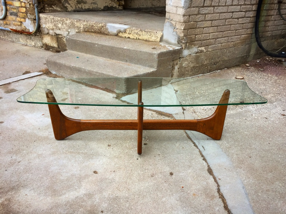 Adrian Pearsall style glass and walnut coffee table