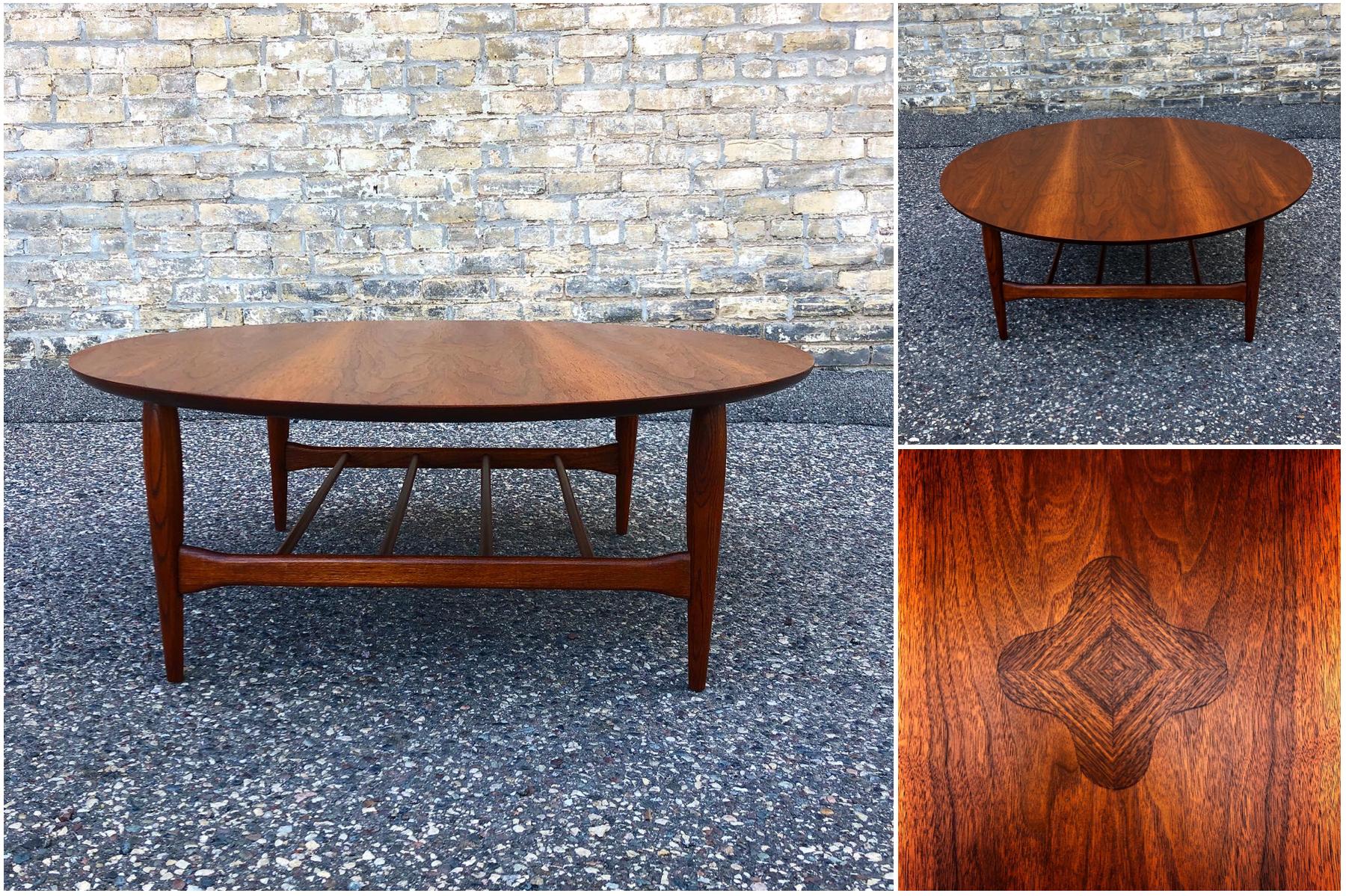 Bassett walnut round coffee table - mid-century modern