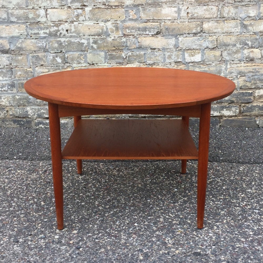 Mobelintarsia round coffee or accent table - teak