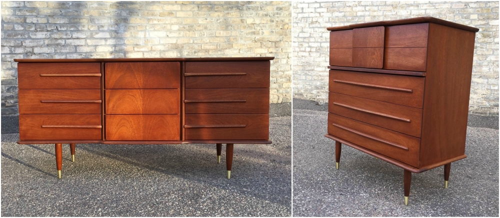 Mid-century modern United Furniture dresser and chest of drawers